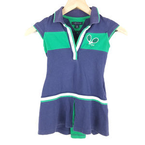 Tommy Hilfiger Girls Navy Green Tennis Dress Sz XS